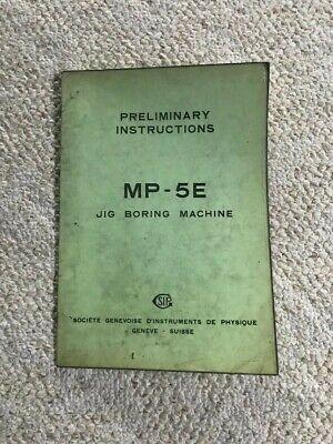 Sip Mp-5e Jig Boring Machine Preliminary Instructions Catalog Swiss Made
