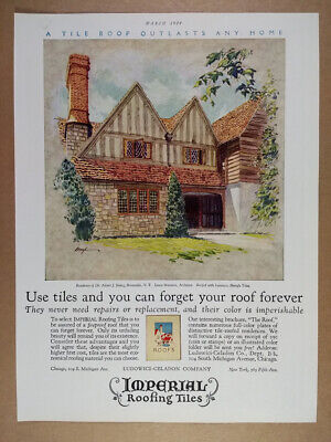 1929 Imperial Roofing Tiles Bronxville NY house illustration vintage print Ad