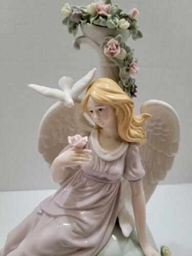 Members Mark Porcelain Seated Angel with Dove and Flowers Large Figurine