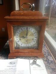 Vintage Franz Hermle Ridgeway Triple Chime 2 Jewel Oak Mantel Clock West Germany