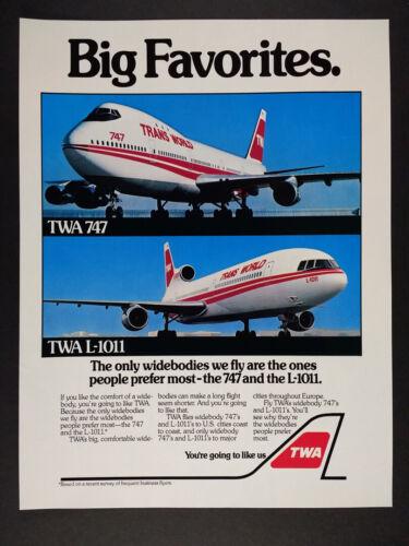 1981 TWA Airlines 747 & L-1011 Jets color photo vintage print Ad