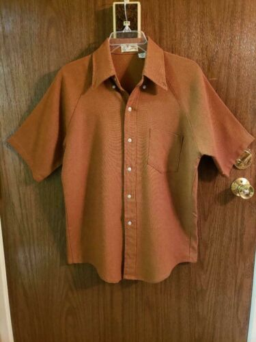 VINTAGE 50s KENNINGTON TWILL SHIRT MENS M ROOS ATKINS BURNT ORANGE SHORT SLEEVE