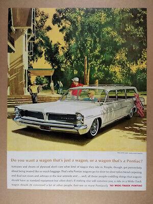 1963 Pontiac Catalina Station Wagon illustration art vintage print Ad