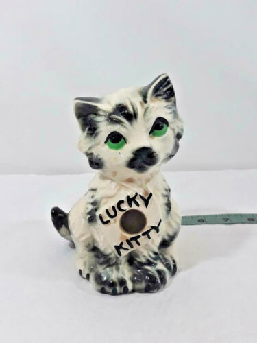 Vintage Cute 1950's Era Lucky Kitty Coin Bank Penny Embedded On Belly Japan