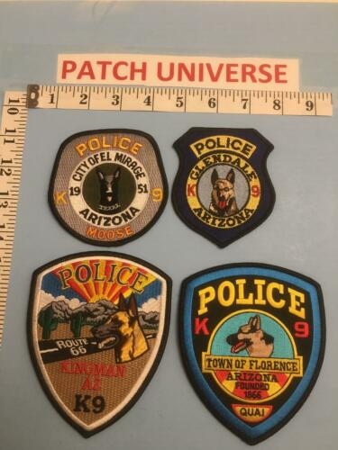 LOT OF 4 ARIZONA  DIFFERENT K-9  SHOULDER PATCHES  B010