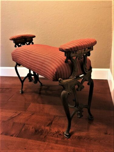 Antique Vintage Art Deco Cast Iron Vanity Bench Upholstered