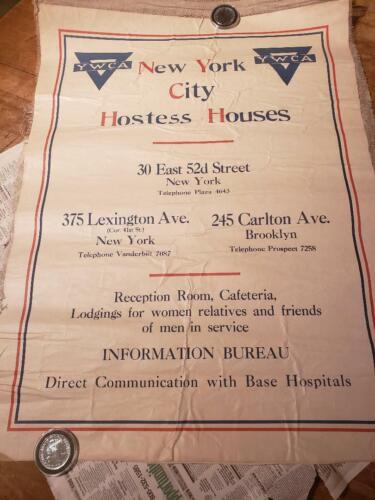 WW II ERA POSTER,NEW YORK CITY HOSTESS HOUSES YWCA 28 X 21