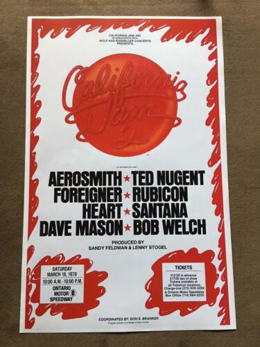 CALIFORNIA JAM Concert Poster March 18,1978 AEROSMITH TED NUGENT FOREIGNER HEART