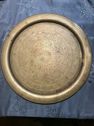 "Vintage 14"" Large Brass Round Engraved Hand Hammered  Tray"