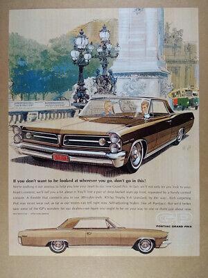 1963 Pontiac Grand Prix illustration art vintage print Ad