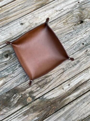 """Deluxe Genuine Leather Valet Tray 8""""x8"""" Horween FREE KEY FOB USA Double Sided"""