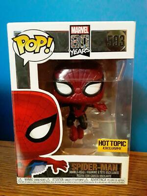 Funko Pop! Marvel SPIDER-MAN (METALLIC)! Hot Topic Exclusive! New In Hand! #593