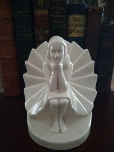 Vintage German Art Deco Bookend of a Girl with Craquelure Finish