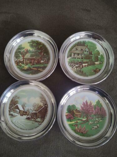 4 Seasons SHERIDAN Silver CURRIER & IVES Lithograph Ceramic Inserts Vintage