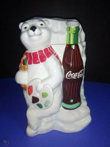 "2000 COCA-COLA ""COKE"" WORK OF ART POLAR BEAR GIBSON CERAMIC COOKIE JAR - MINT!"