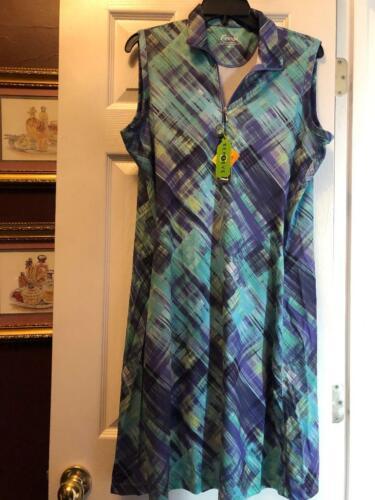 NWT FRINGE Bermuda Sands Purple Aqua Plaid Sleeveless Golf Tennis Dress L & XL