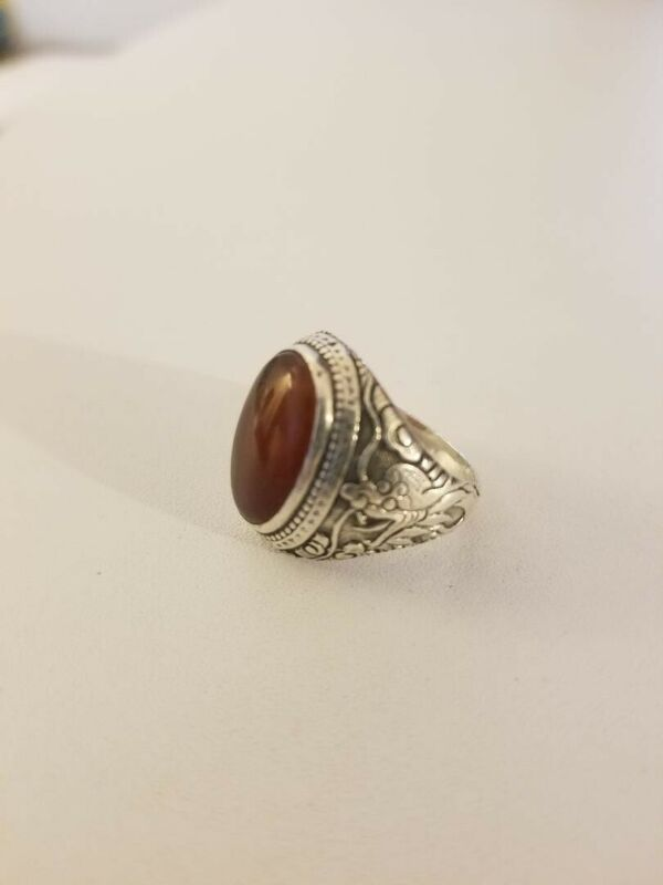 Vintage Silver Dragon Chinese Export Ring - Red/Amber/Cabochon Stone
