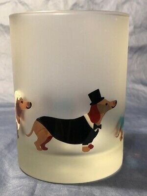 DACHSHUND~Bride & Groom + Puppies~Frosted Glass~TEA LIGHT OR VOTIVE ~HOLDER~NEW