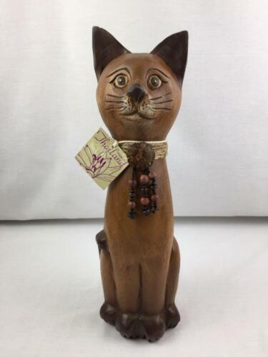 Large Hand Carved Wooden Wood Cat Made in Thailand 15""
