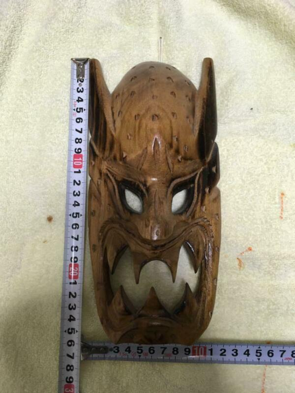 26 cm Asian Wooden Hand Carving Sculpture Traditional Mask Ornament Vintage Used