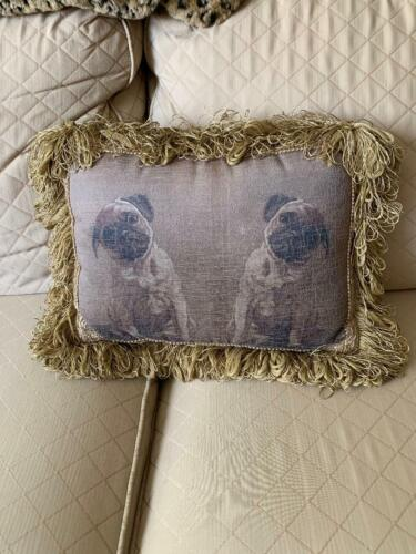 "PULVERMACHER DESIGNS NEW YORK CITY ANTIQUED PILLOW PUG PUGS DOGS FRINGE 14""L"