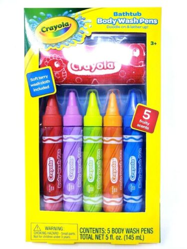Childrens Crayola Bath Tub Body Wash Pens Doodles on  Lather up 5 Fruity Scents