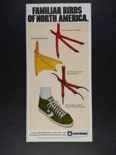 1982 Converse All-Star Larry Bird Shoes green Familiar Birds vintage print Ad