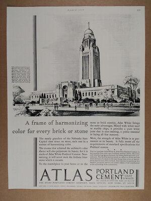 1929 Atlas Portland Cement Nebraska State Capitol illustration vintage print Ad