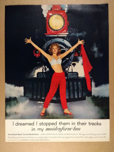 1962 Maidenform Sweet Music Bra freedomland park train photo vintage print Ad