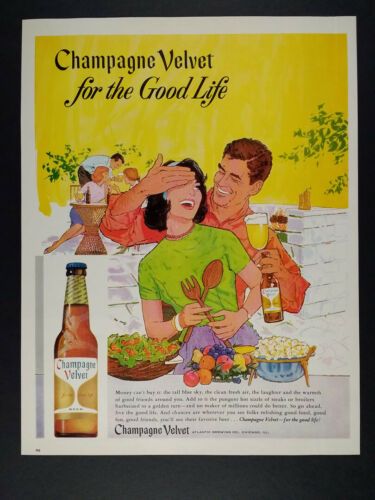 1963 Champagne Velvet Beer Atlantic Brewing Co. vintage print Ad