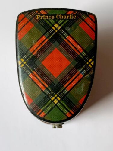 "Antique Tartanware Thimble Case Box Stuart """"Prince Charlie"""