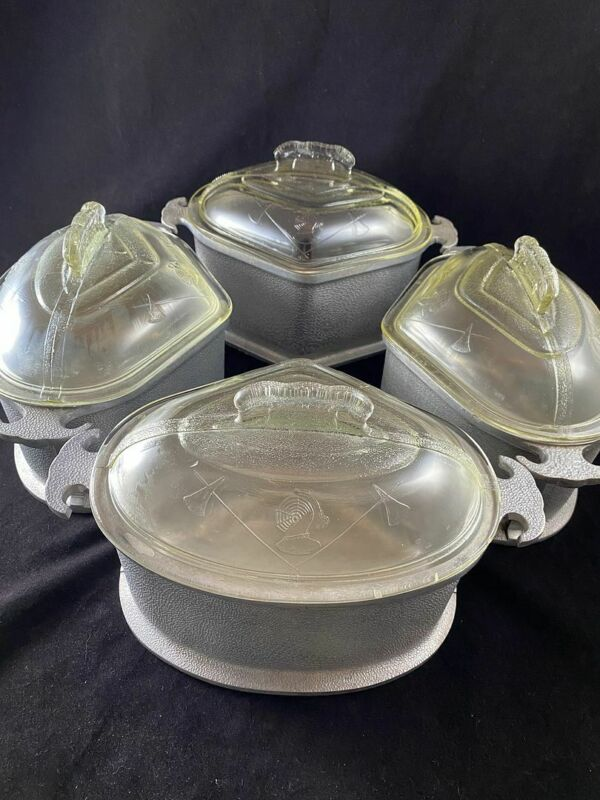 Lot 8 Pc Guardian Service Aluminum Cookware Triangle Roasters With Lids