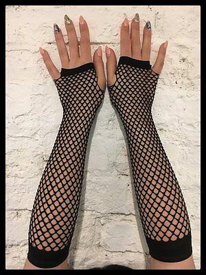 Fingerlose NETZHANDSCHUHE lang (schwarz) - Gothic Fishnet Armstulpen