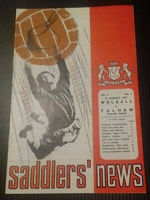 Walsall v Fulham Friendly Programme 12/08/67