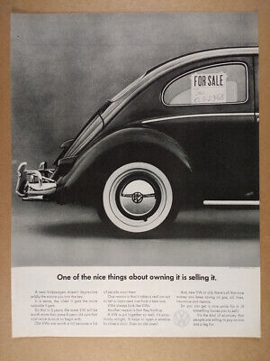 1966 VW Volkswagen Beetle for sale sign photo vintage print Ad