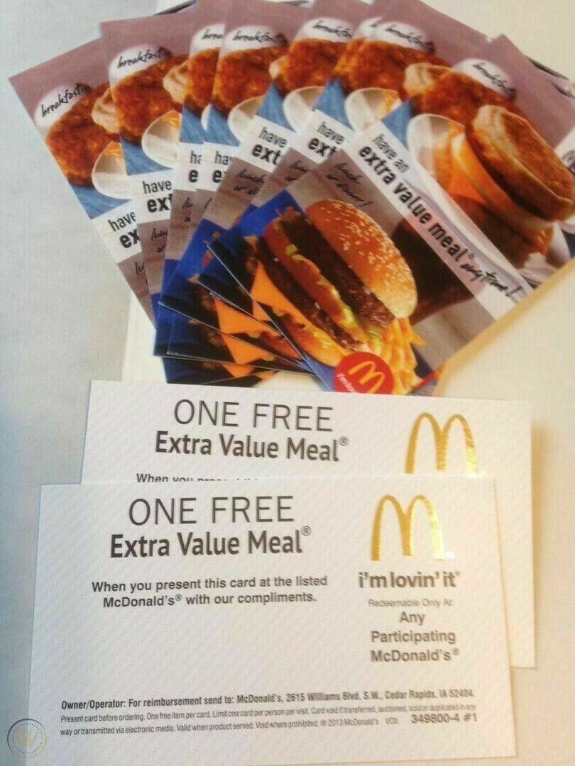Lot Of 10 McDonalds Combo Meal Card Voucher Certificates -Value Of 70-100.  - $23.00