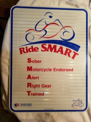 RIDE SMART OHIO DEPTMENT OF PUBLIC SAFETY MOTORCYCLE SIGN