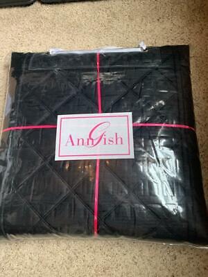$1450! NEW Ann Gish  Big Diamond BLACK 100% Silk QUEEN Cover