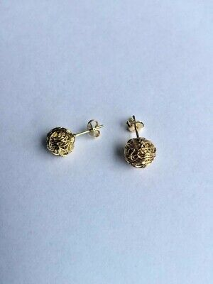 14 K GOLD PLATED LOVE KNOT STUD EARRINGS WOVEN WIRE DESIGN 10 MM ROUND J 380 14k Gold Plated Wire