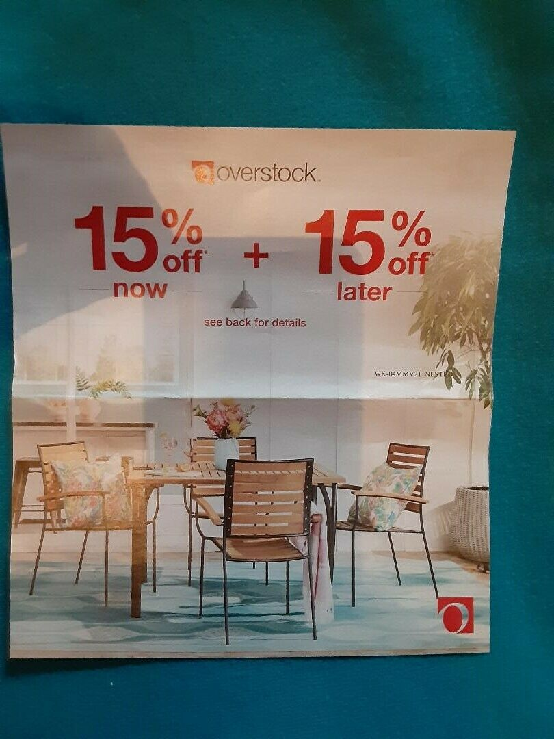 Overstock 15 Off Now COUPON 15 Off Later Zero Shipping Expires 6/30/21 - $7.50