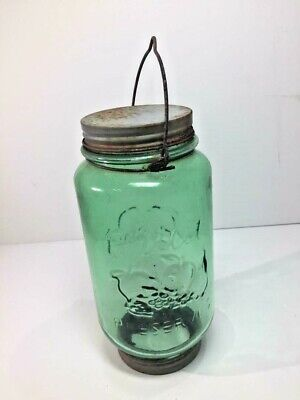 Very Rare Green Glass Mason Hopper  - Coffee Grinder / Fruit -