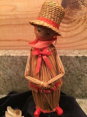 Vintage Woven Twig Straw Circus Clown with Top Hat Figure Figurine 6.5