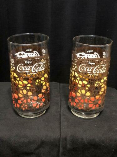 Vintage Coca Cola Coke 1970s Flower Power Glasses