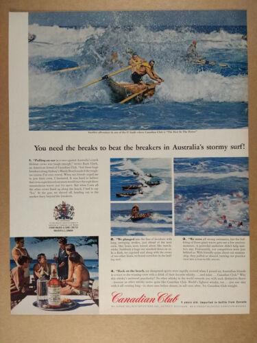 1962 CC Canadian Club lifeboat surf rescue australia photos vintage print Ad