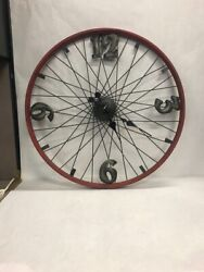 Vintage wagon spoke bike wheel clock red black untested 24 in metal wall battery