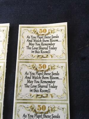 50 STICKERS for GOLD 50th Wedding Anniversary + POEM to Make UR own Seed - Favors For 50th Wedding Anniversary
