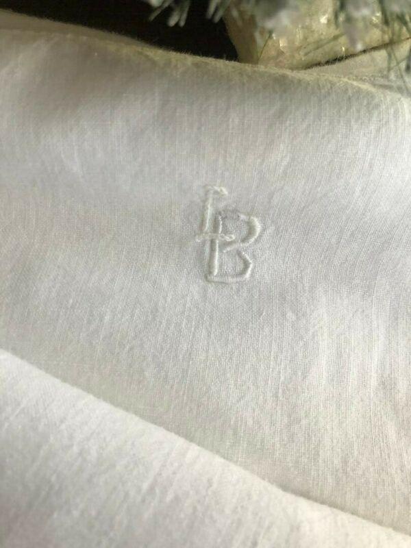 Early ANTIQUE Homespun LINEN Bed Sheet Mono Monogram LB 88X54Trousseau French