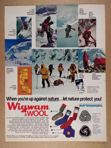 1977 Wigwam Wool Socks mountain climbing expeditions photos vintage print Ad