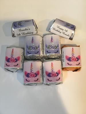 60 Unicorn Personalized Birthday Candy Bar Wrappers Favors