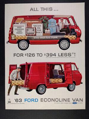 1963 Ford Econoline Van illustration art vintage print Ad